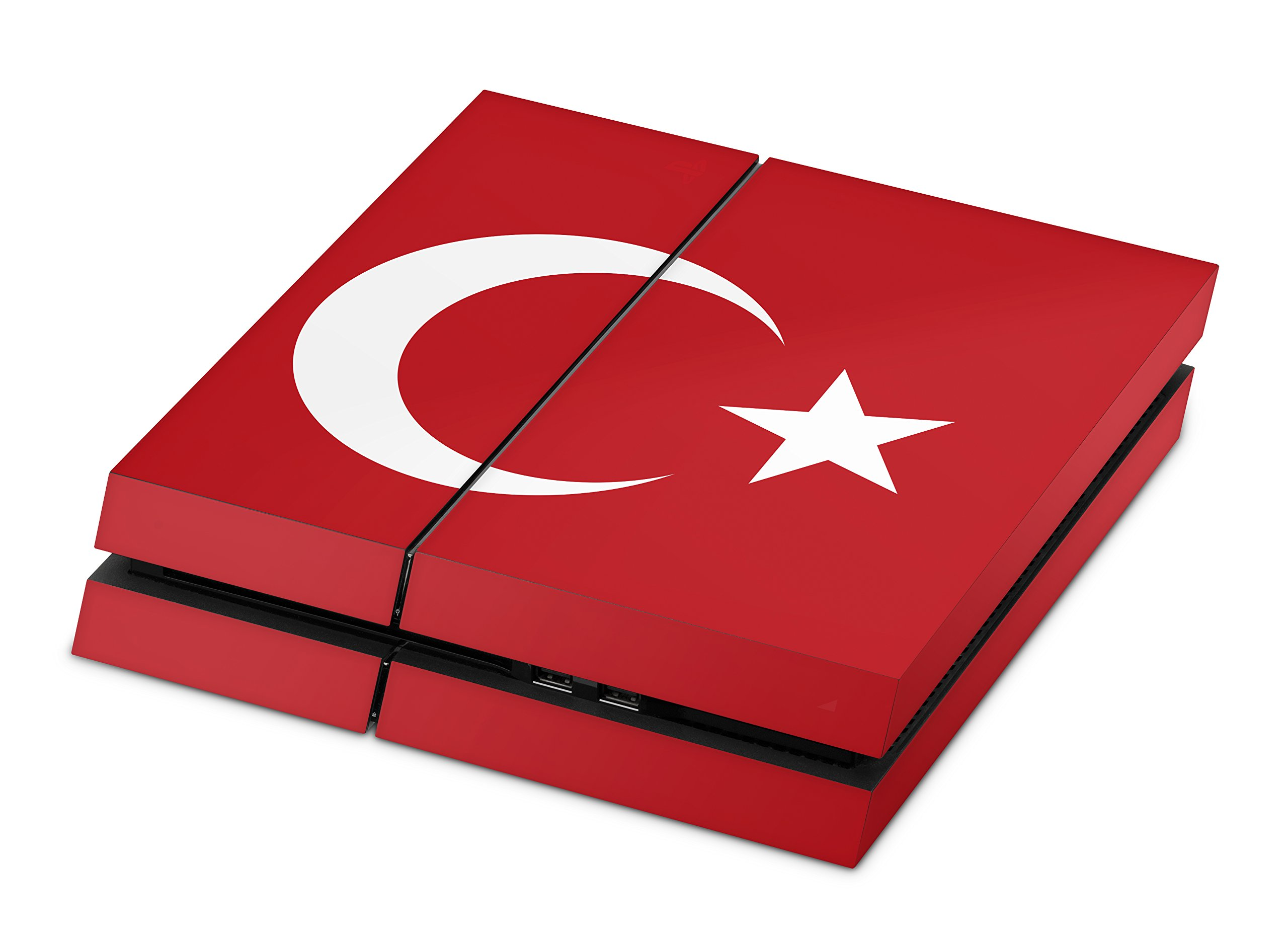 Skins4u Aufkleber Design Schutzfolie Vinyl Skin kompatibel mit Sony Playstation 4 PS4 Türkei Flagge rot