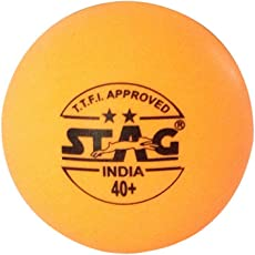 Stag Two Star Plastic Table Tennis Ball, 40mm Pack of 6 (Orange)