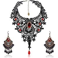 SEELOK 3Stk Schwarze Spitze Halskette mit Ohrringe Set, Gothic Schmuck Red Kette Lolita Anhänger Spitzenarmband…