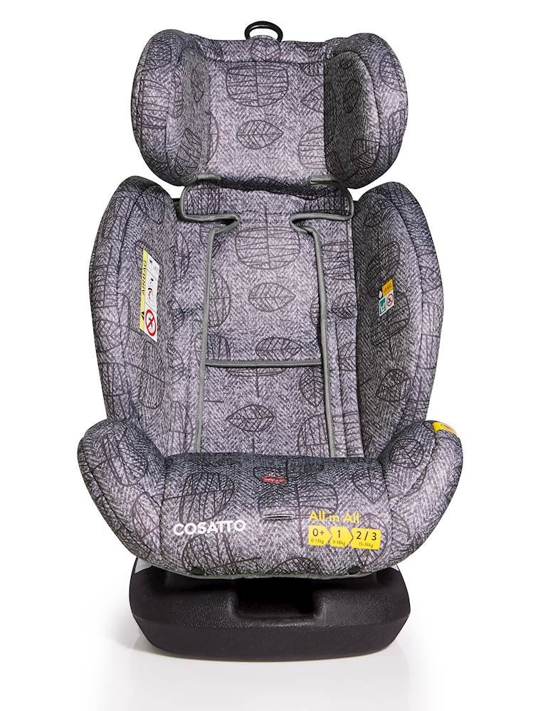 Cosatto All-in-All Group 0+123 Car Seat, Dawn Chorus, 0-36 kg Cosatto This utmost car seat takes your passenger from-birth all the way to 36 kg (approximately 12 years) Rearward-facing 0-13 kg then forward-facing 9-36 kg All-in-all comes with ISOFIX and ISOFIT fitting options for added safety, plus can be belt fitted in all groups 6