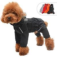 lovelonglong Dogs Waterproof Jacket, Lightweight Waterproof Jacket Reflective Safety Dog Raincoat Windproof Snow-proof Dog Vest for Small Medium Large Dogs Black XS