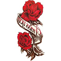 S.A.V.I Temporary Tattoo For Girls Men Women 3D Miss You Red Rose Sticker Size 20x10cm - 1pc, Black, 4 g