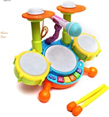 HOBNOT Multi Colored Dynamic Fun Beat Jazz Musical Electronic Drum Set with Mic/Drumstick and Flashing Lights for Kid