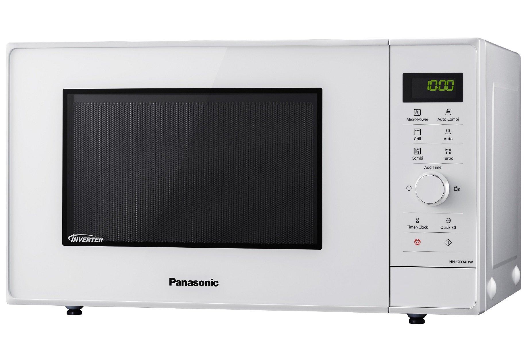Panasonic NN-GD34HWSUG Horno microondas Compacto Inverter, 1000 W, 23 litros, Gris, Blanco
