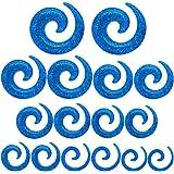 tumundo Set di 16 Pezzi / 1 Paio Stretching Dilatatori Spirale Taper Expander Piercing Tunnel 1,6-10mm Glitter azzurro