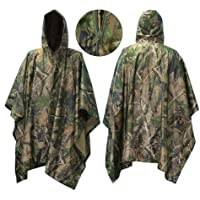 Waterproof Rain Poncho, Vaxiuja Leisure Raincoat Rain Jacket for Hunting Camping Cycling, Hiking – Camouflage Rain…