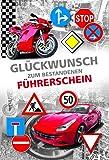 Glückwunschkarte zum Führerschein | Karte Führerschein im Set | Karte in Folie | Karte ohne Innentext | DIN A 6 | Klappkarten inkl. Umschlag | Motiv: Red Vehicles