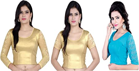 Fressia Fabrics Women's Stretchable Readymade Saree Blouse pack of 3-100black_117gold_xxx