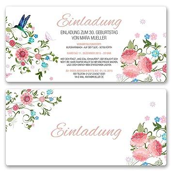 Einladungskarten Geburtstag (20 Stück) Blumen Geburtstagseinladungen Karte  Einladungen Gestalten | Inkl. Druck Ihrer