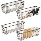 shiok decor Alloy Steel Stackable Wire Pantry Basket Organizer Bin Basket with Carrying Handles for Bathrooms, Kitchen, Food