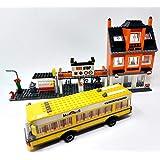 Brigamo Mattoncini da costruzione, autobus, stazione di supporto con pizza, 546 mattoncini per costruzione giocattolo