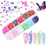 Kalolary 12 color 3D Butterfly Nail Art Glitter Sequins, Holographic Nail Foil Debris Splarkly Laser Coloful Butterfly…