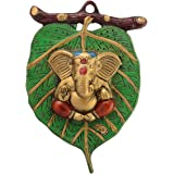 eCraftIndia Metal Lord Ganesha in Red Dhoti on Green Leaf Wall Hanging (AGG512_GN), Multicolour
