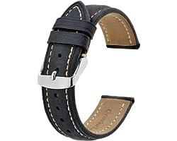 BISONSTRAP Bracelet de Montre, Bracelet de Remplacement en Cuir Vintage, Largeur de Bande-14mm 15mm 16mm 17mm 18mm 19mm 20mm