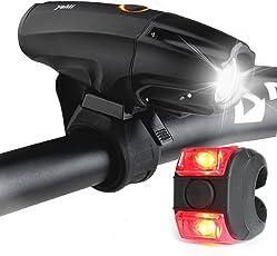 LED Beleuchtung Set, YAMI Lichter USB aufladbar Taschenlampe zum Aufladen Lampe mit Schalter wasserfest Frontlichter, Kinderwagen Lampenset mit Frontlicht und Rücklicht, 6 Modi Akku 2600mAh