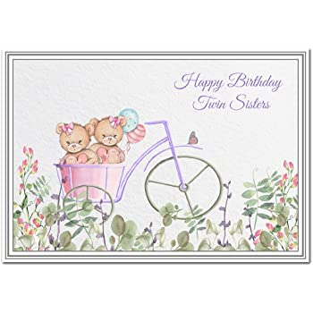 birthday card for twin sisters girl twin sister design perfect for sisters and daughters cousins and nieces granddaughters goddaughters friends