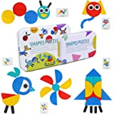 TONZE Puzzles Infantiles Montessori Tangram Madera 3 4 5 6 Anos- Puzzle Rompecabezas de Madera y Tarjetas de Apilamiento Mont