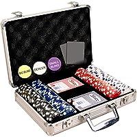 Toyshine 200 pcs Casino Style Poker Chips (11.5 Grams) Set with Aluminium Case