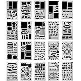 Bullet Journal Pochoir à Dessin,20 Pièces Plastique Guide de Lettres Flexible Forme Géométriques Planner Réutilisable Carte D