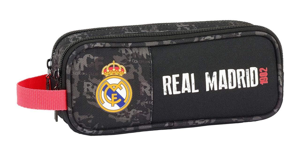Real Madrid- Manualidades/Escolares Unisex Adulto Estuche portatodo Doble Black' 811924-513, Multicolor, Talla única…