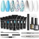TOMICCA 8 STUKS 15g Polygel Kit Complete Top Coat Base Gel Kit Poly UV Gel Extension Bouw Gel Manucure Nail Art Set