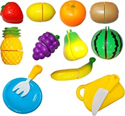 Kotak Sales Kids Fruits & Vegetables Realistic Half Slice Kitchen Set Knives Cutting Board Toy Pretend to Play Set Learning Tool (13 Piece Set)