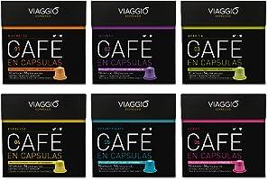 VIAGGIO ESPRESSO - 60 Cápsulas de Café Compatibles con Máquinas Nespresso - SELECCIÓN CLÁSICOS