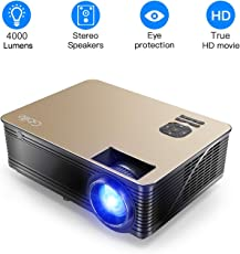 Beamer 4000 Lumen Video Projektor, Gblife Full HD 1920 x 1080 Pixel LED Projektion Hohe Helligkeit Multimedia Movie Projektor Heimkino Surroundsound-System Kompatibel mit Fire TV Stick, PS3, PS4, HDMI, VGA, TF, AV und USB