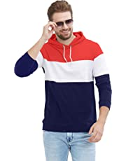LEWEL Men's Full Sleeve Hooded T-Shirt (Red, White, Navy)
