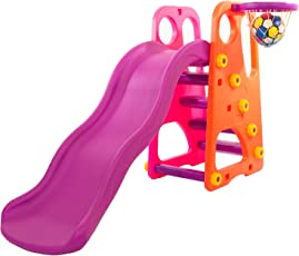 Baybee Grand Folding Slide, Plastic Play Slide Climber With Score Keeper, Outdoor Play Set Climber | Suitable For Boys & Girls ( Orange with Pink )