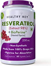 HealthyHey Resveratrol Extract 98% Plus BioPerine for Absorption - 250mg - 60 Vegetable Capsules (Pack of 1)