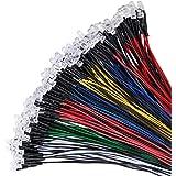 YIXISI 100 Stuks Voorbedrade LED, 5mm LED, Diode Lamp, 12V Voorbedraad Licht (20 Stuks per Kleur)