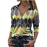 riou Blusas y Camisa Mujer Moda Solapa Estampado Geométrico Cremallera Manga Larga Blusa Casual Tops Suéter Suelta Tallas Gra