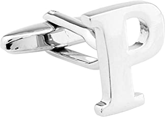 Angelfish Attractive Sliver Alphabet Letter 'P' Cufflinks for Men and Boys by Men's Collections