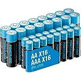 Poweradd 32 Pack 1.5V AA AAA Pilas Alcalinas con 16 x LR6 Batería Alcalinas y 16 x LR03 Batería Alcalinas de 10 Años Larga Du