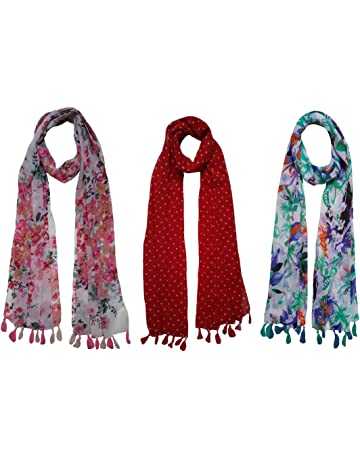 b2077ecf18f77 FusFus Women's Printed Poly Cotton Stoles (F069,Multicolour,Free Size) -  Combo