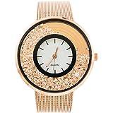 Souarts Analoge Quarz-Armbanduhr für Damen, Stahlarmband, rundes Zifferblatt, mit beweglichen Strasssteinen, 22cm
