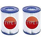 Lot de 2 cartouches filtrantes de rechange Bestway type II - Réutilisables - Pour pompe à filtre Bestway 58094 - Gonflable -