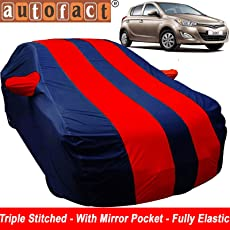 Autofact Car Body Cover for Hyundai I20 Old Model (2008 to 2014) (Mirror Pocket , Premium Fabric , Triple Stiched , Fully Elastic , Red / Blue Color)