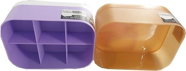 Kretix Cosmetic Case 3 Pieces Set 6 Divison Storage Container & Plain Makeup Brush Holder