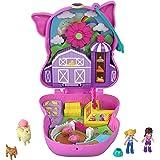 Polly Pocket Cofre con forma de cerdito en la granja, con muñecas y mascotas, juguete para niñas y niños +4 años (Mattel GTN1