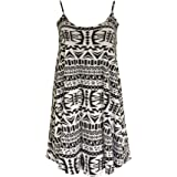 Re Tech UK Womens Ladies Sleeveless Long Printed Camisole Cami Strappy Swing Dress Vest Top Flared