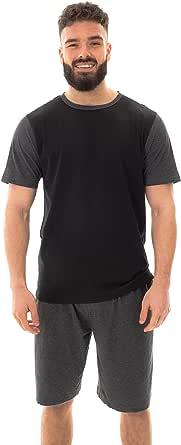 Kraftd Men's Pajamas Set Cotton Short Sleeve T-Shirt Top & Shorts 2 Pieces Summer Lounge Wear Sleepwear Nightwear PJ's Set
