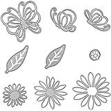DaKuan - Set di 9 fustelle per stencil in metallo, motivo: farfalle, fiori, foglie e goffratura, per scrapbooking, album di c