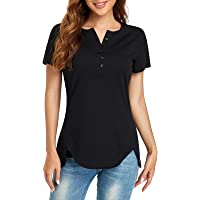 Ulknyss Maglie a Maniche Corte/Manica Lunga Magliette Camicette T Shirt Donna Cotone Camicia Casual Elegante Bottone…