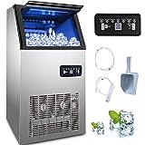 SucceBuy 220V 60KG Machine A Glaçons Acier Inoxydable Machine A Glace Portable et Rapide (60KG)