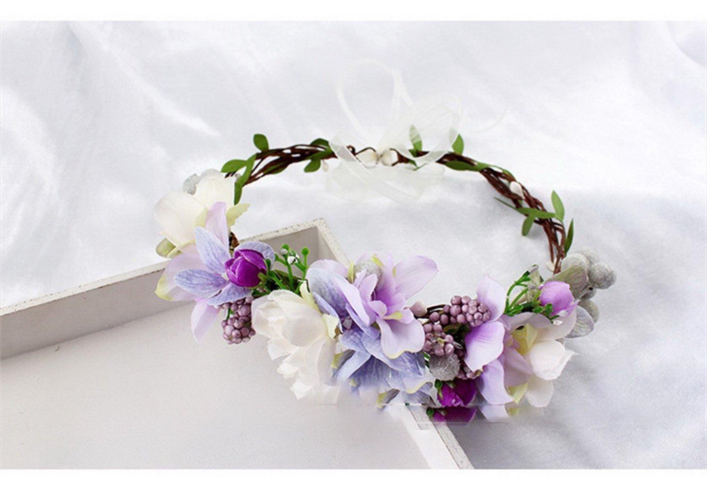 YAZILIND Corona Tocado Bohemio Estilo púrpura Guirnalda de Flores Diadema para Bodas Festivales Turismo