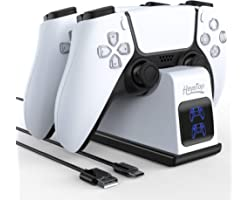 HEYSTOP Chargeur Compatible avec Manette PS5, Station de Chargement Compatible avec Les Manettes DualSense Playstation 5, Sup