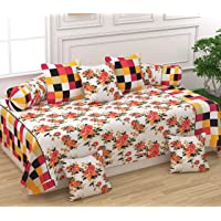 Laying Style Pure Cotton Designer Printed 1 Single Bedsheet, 2 Bolster Covers, 5 Cushion Covers, Diwan Set 8 Piece (White, Standard Size)