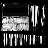 ELECTOMANIA 500 Pcs Fake Nails, 10 Sizes Acrylic Nails,Transparent Artificial Nails, False Nail Tips with Case for Nail Salon